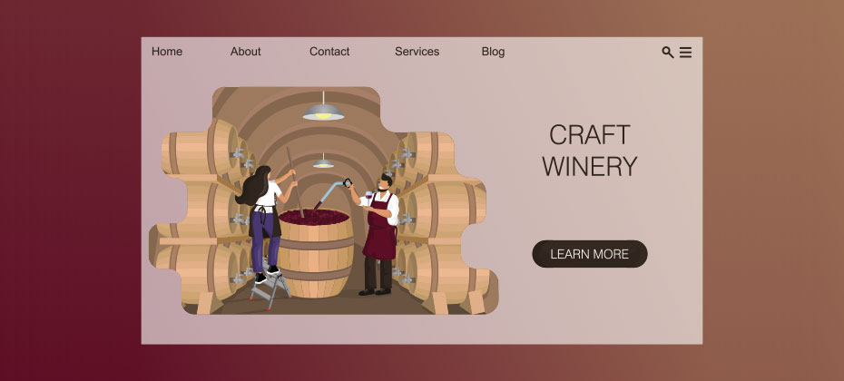 The homepage of a wine website